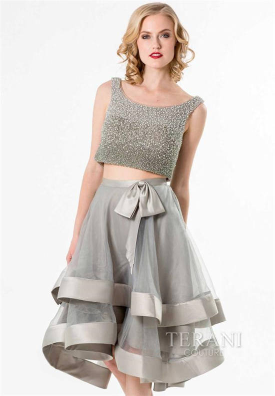 Terani sparkly silver short homecoming dresses 2015 -